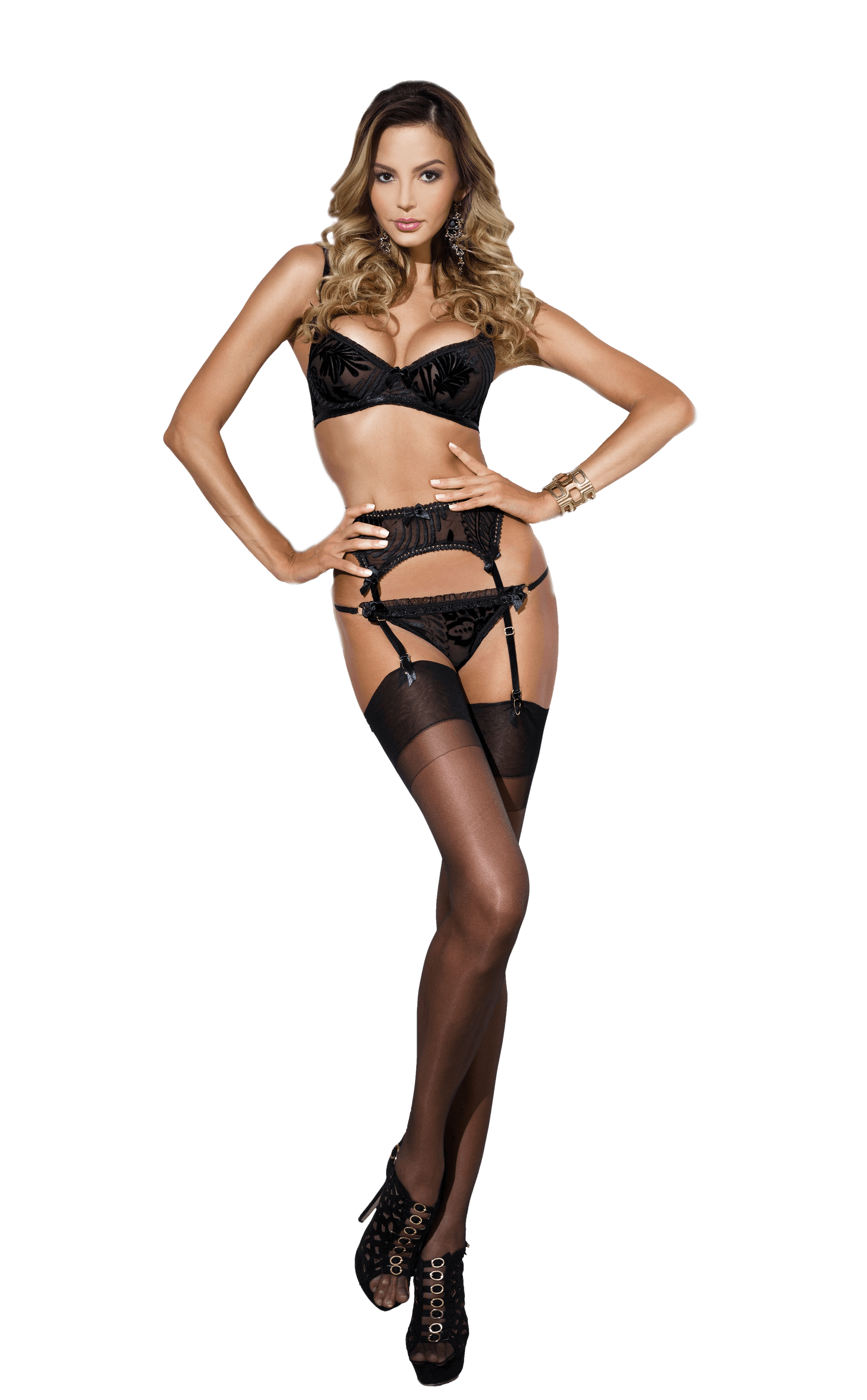 woman wearing a black lingerie with stockings